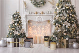 White Fireplace Christmas Tree Wood Floor Photo Backdrops