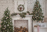 Beige Brick Wall Christmas Photography Backdrops