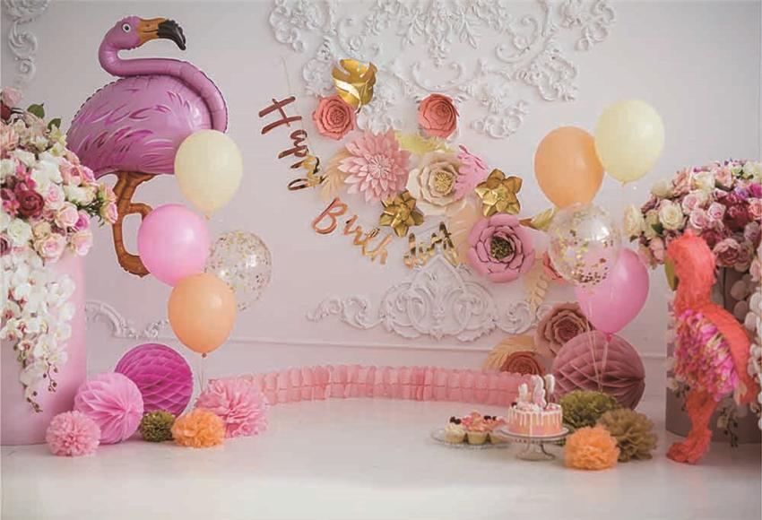 Flamingo Happy Birthday Pink Flowers Backdrop