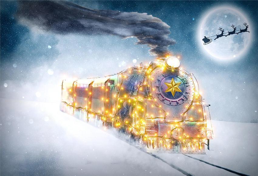 Winter Bright Train Photo Booth Prop Backdrop