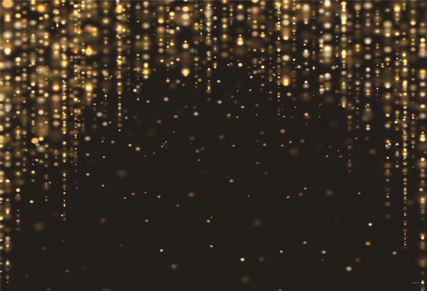 Birthday Backdrop for Party Black Gold Shiny Bokeh Background