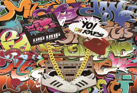 Back to 90s Hip Hop Graffiti Backdrop for Party
