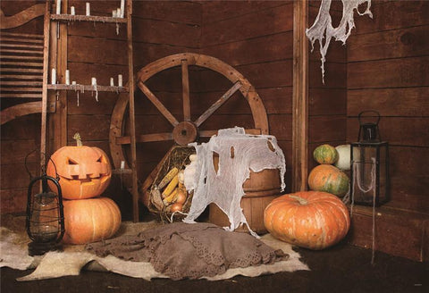 Vintage Barn Fall Pumpkin Photography Backdrops