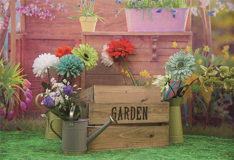 Grass Spring Garden Flowers Backdrop