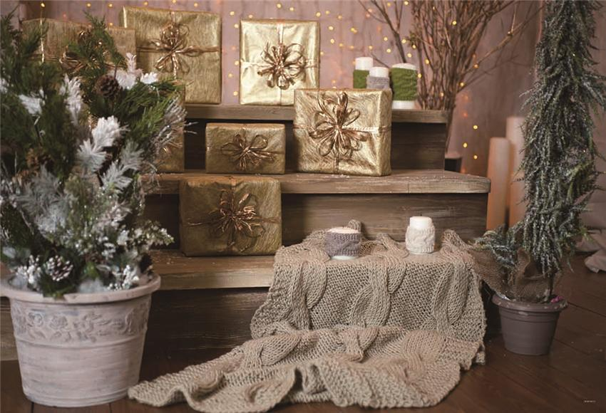 Gold Gift Wood Stairs Christmas Backdrop