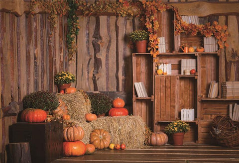 Wooden Barn Pumpkin Fall Leaves Backdrop