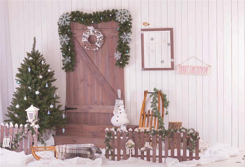 White Wood Wall Christmas Tree Snow Backdrop