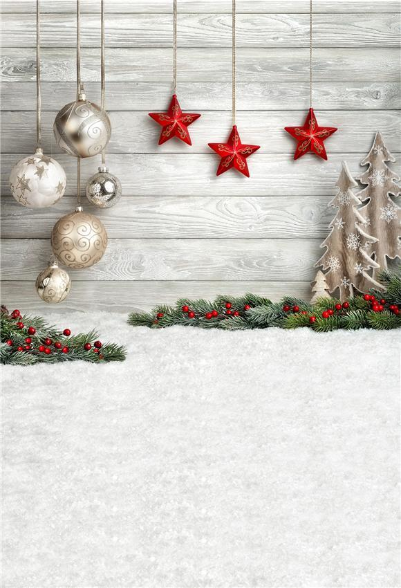 Wood Snow Floor Red Stars Christmas Backdrop for Photography Prop