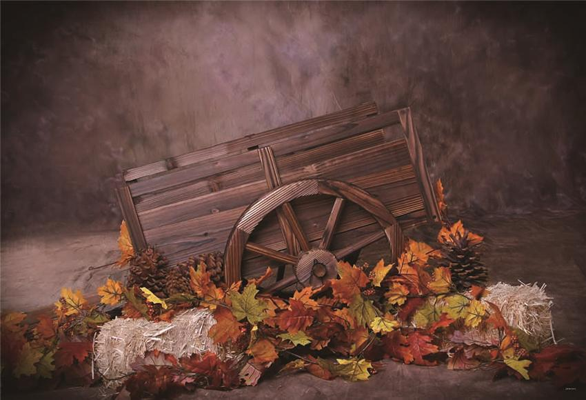 Brown Fall Leaves Wooden Cart Haystack Backdrops
