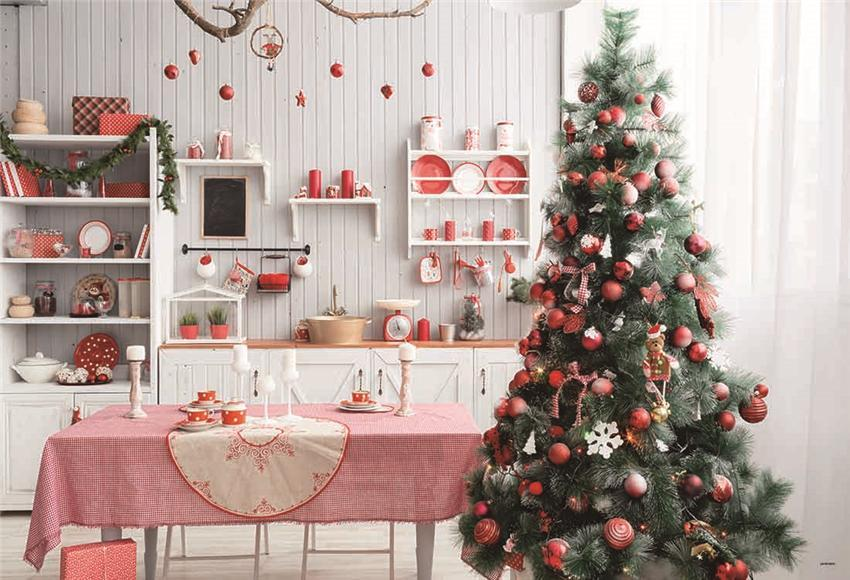 Kitchen Christmas Red Bell Photo Studio Backdrop