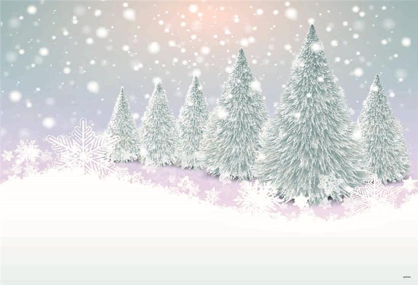 White Snow Winter Photography Backdrop for Christmas