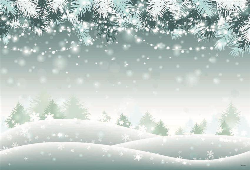 Snow Christmas Pine Bright Photo Booth Backdrop for Photo
