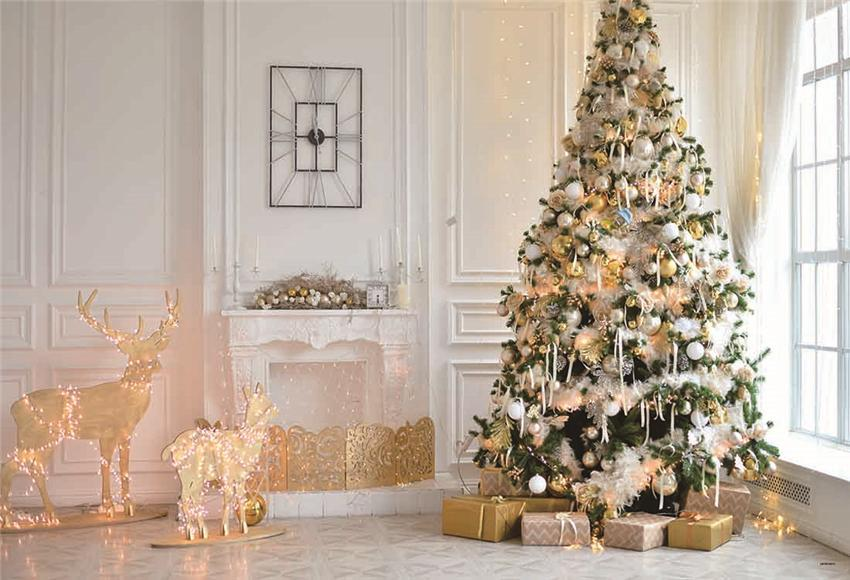 Christmas Tree Elk White Christmas Photo Backdrops