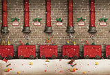 Brick Wall Red Chimney Christmas Backdrops