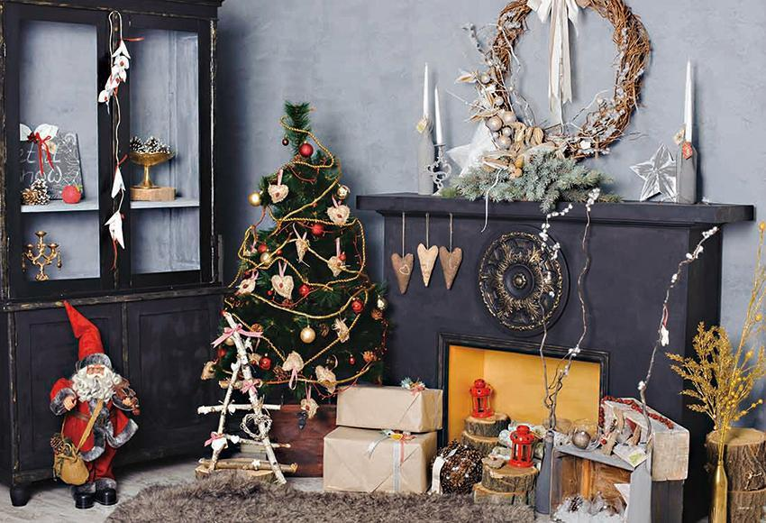 Vintage Fireplace Christmas Photography Backdrops