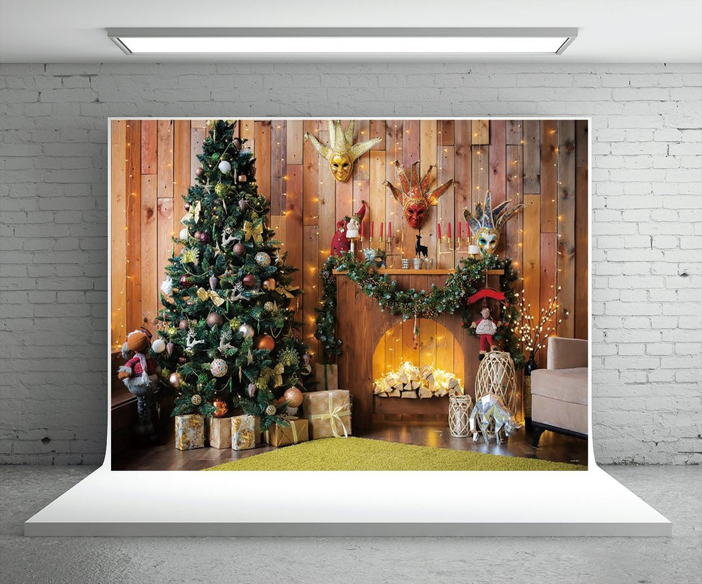 Wooden Prom Christmas Photography Backdrops