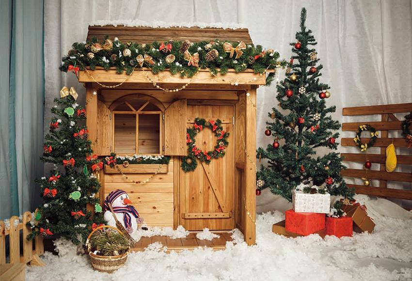 Wooden House Snow Christmas Photography Backdrops
