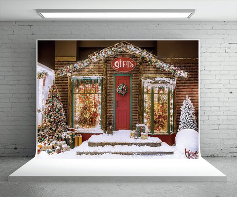 Snow Brick Christmas Photo Booth Prop Backdrops