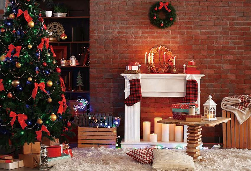 Red Brick Wall Christmas Backdrops