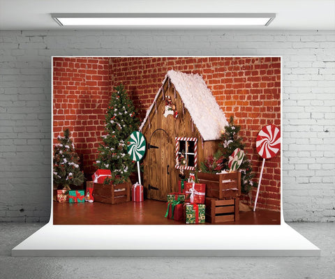 Brick Wall Christmas Lollipop Photo Studio Backdrops