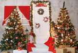 Merry Christmas Red Curtain Photo Backdrop