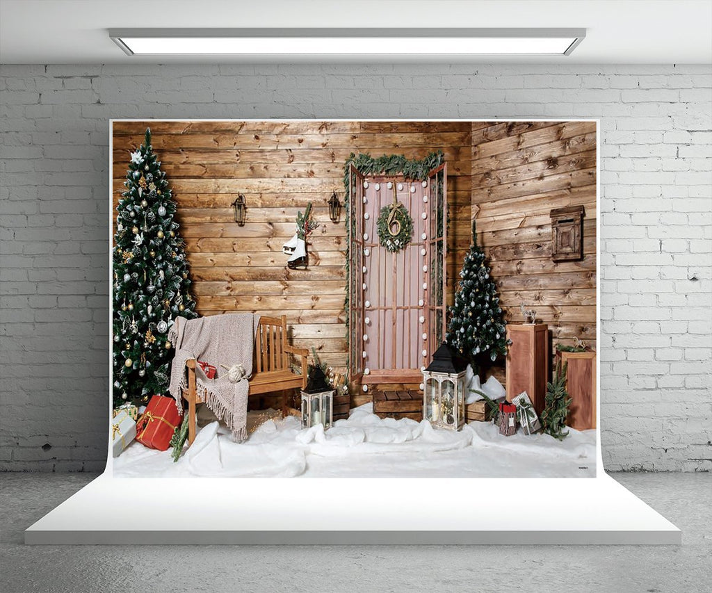 Brown Wood Christmas Photo Booth Prop Backdrops