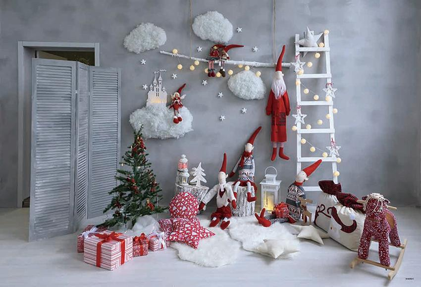 Grey Abstract Christmas Photo Backdrop for Picture