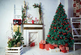 White Brick Wall Christmas Tree Photo Backdrops