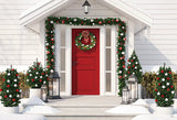 White Wooden House Christmas Backdrops
