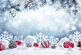 Winter Snow Christmas Bell Backdrop for Photography Prop