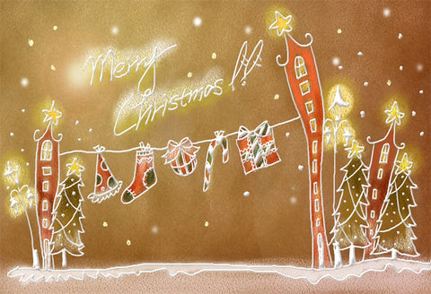 Merry Christmas Cartoon Backdrop for Picture