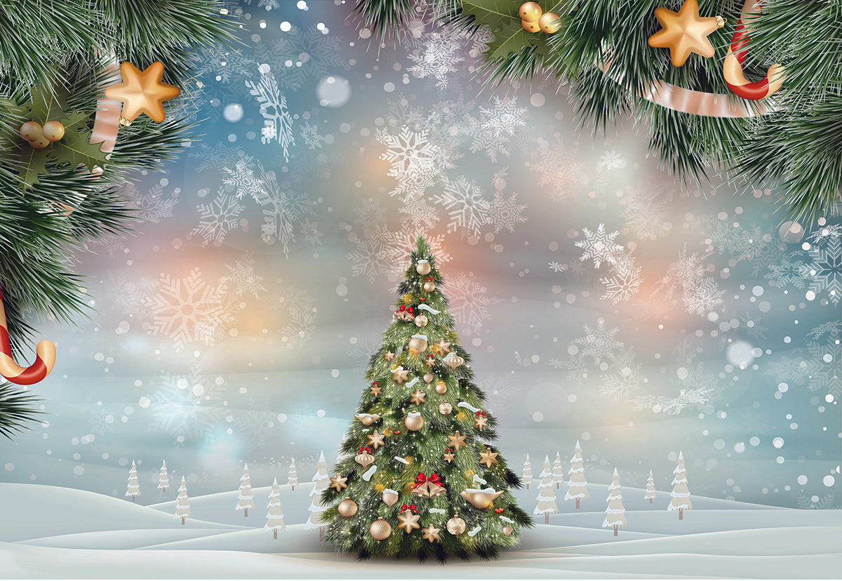 Snow Christmas Tree Winter Photo Studio Backdrops for Picture