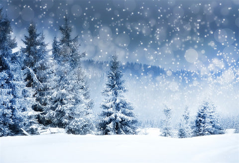 Snow Backdrop for Photography Prop Winter Forest Photo