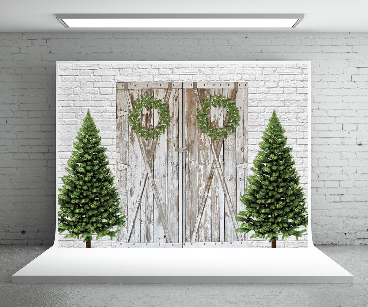 White Brick Barn Christmas Backdrop for Photography Prop