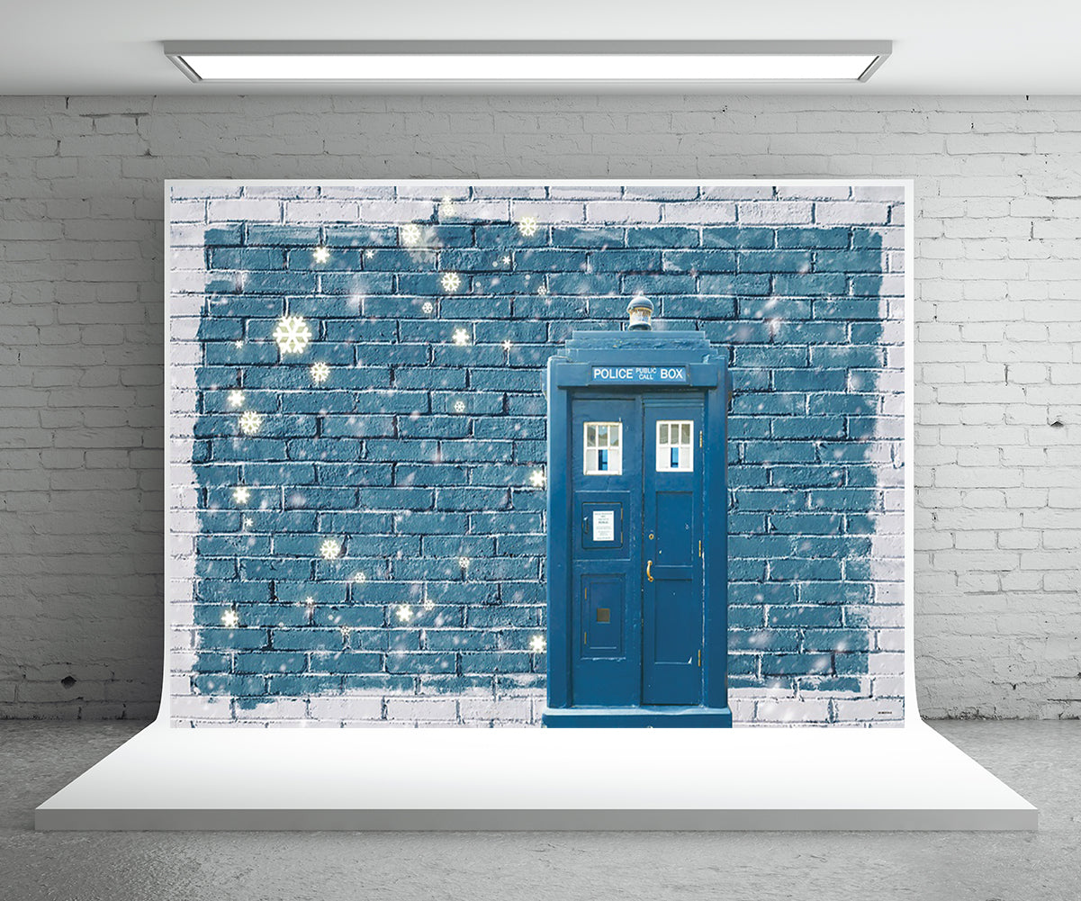 Winter Blue Brick Backdrop for Photography Prop