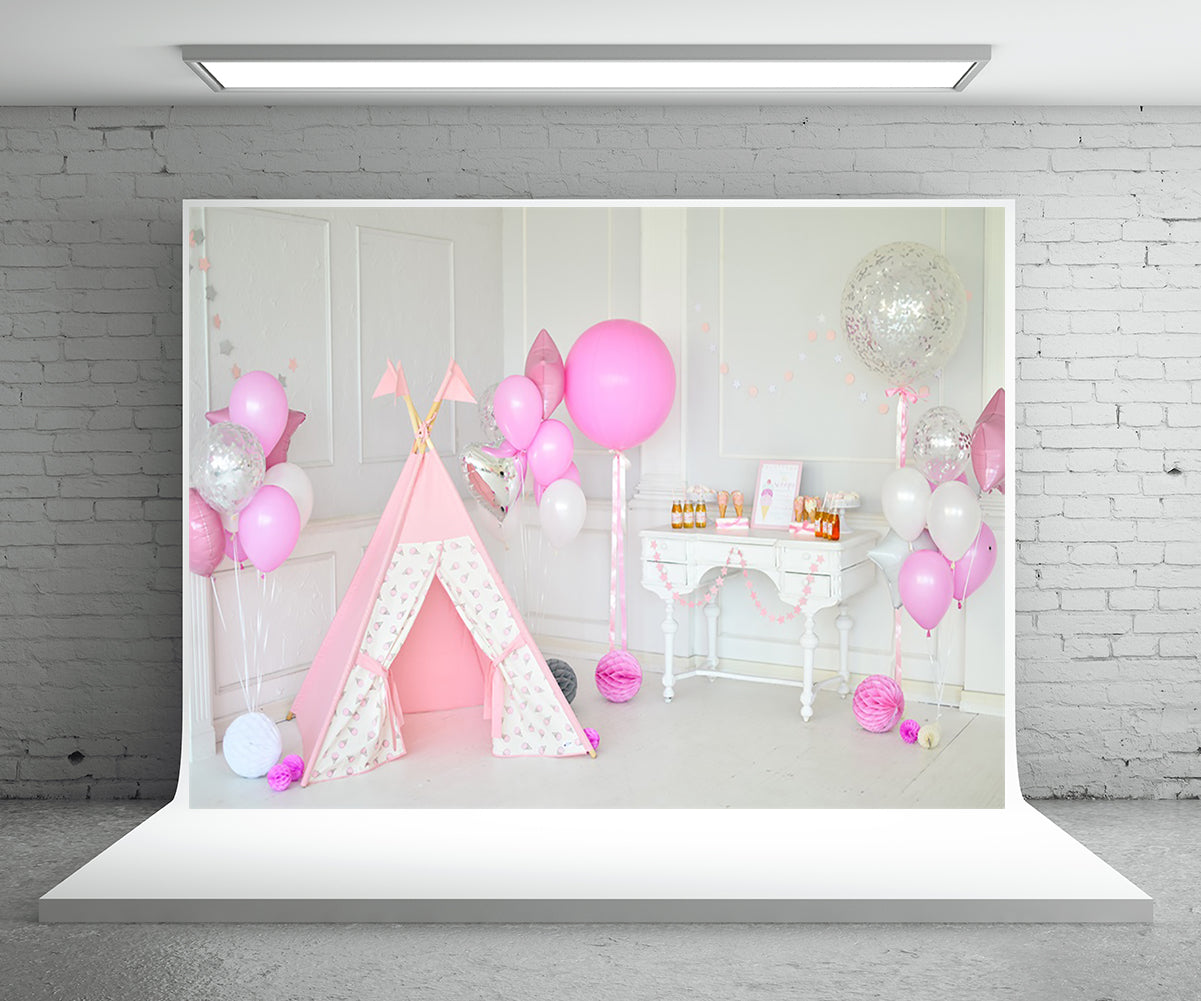 Pink Tent Baby Show Halloween Decor Birthday Backdrops