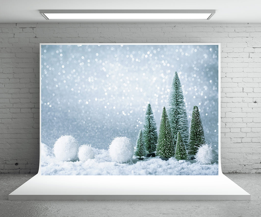 Sliver Gliter Snow Pine Photography Backdrop for Christmas