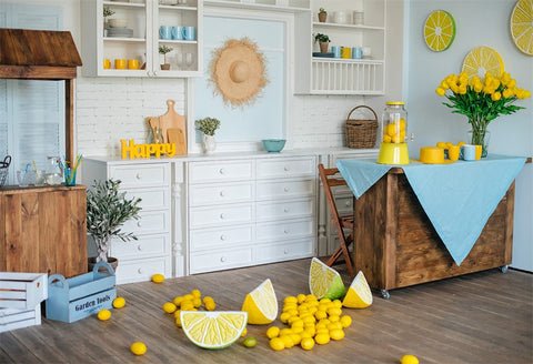 Happy Kitchen Lemon Backdrop for Party