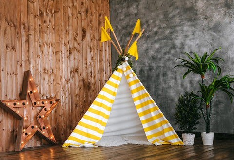 Yellow and White Stripes Tent Baby Show Backdrops for Party