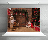 Brick Wall Fireplace Christmas Photo Sudio Backdrop