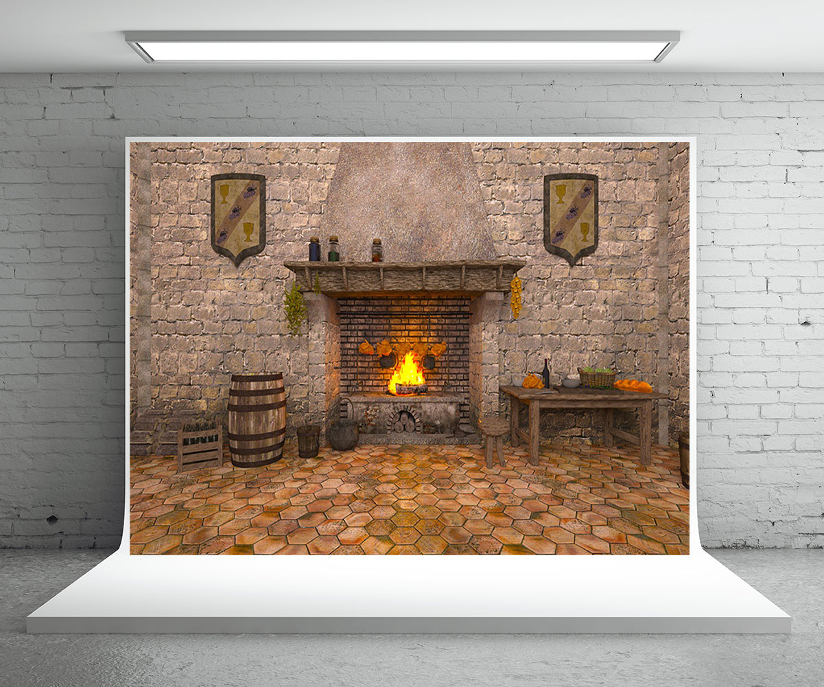 Vintage Brick Christmas Fireplace Backdrop for Photography Prop