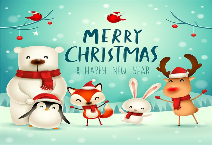 Happy New Year Merry Christmas Backdrops