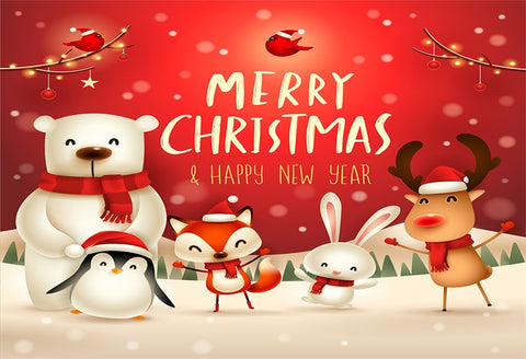 Red Merry Christmas Cartoon Photography Backdrops
