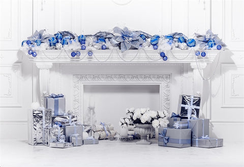 Royal Blue Christmas Decor White Fireplace Backdrops