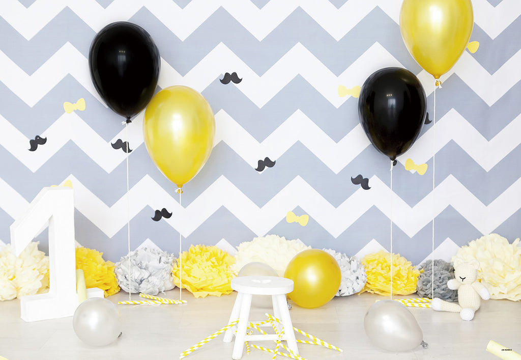 1st Stripes Balloon Flowers Backdrop for Party