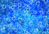 Blue Theme White Heart Valentine's Day Photo Backdrops