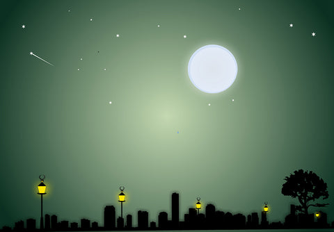 Night of City Street Big Moon Cartoon Backdrop
