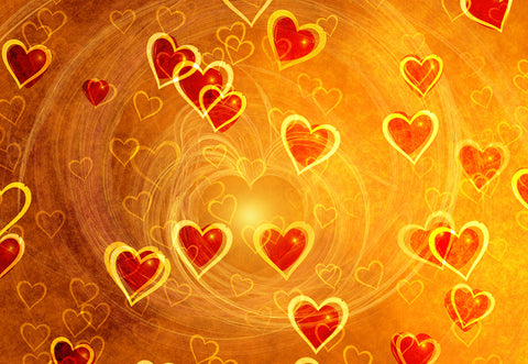 Gold Red Heart Happy Valentine's Day Photo Studio Backdrops