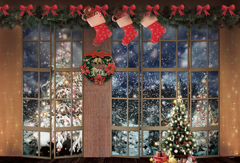 Windows Christmas Tree Snow Winter Butterfly Backdrops