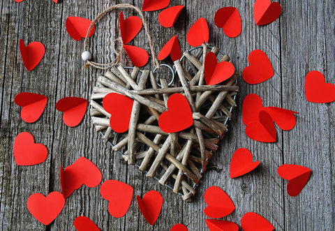 Valentine's Day Red Heart Wooden Backdrop for Photography Prop